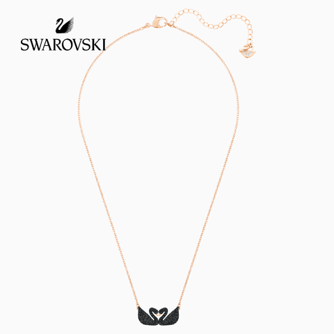 SWAROVSKI 5296468 ICONIC SWAN NECKLACE, BLACK, ROSE-GOLD TONE PLATED