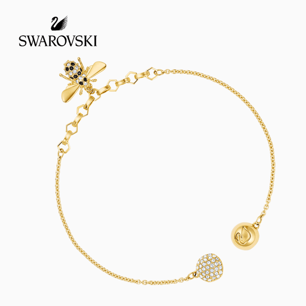 SWAROVSKI - 5380077 -REMIX COLLECTION BEE STRAND, BLACK, GOLD TONE PLATING