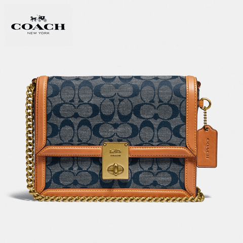 Coach - Hutton Shoulder Bag In Signature Chambray