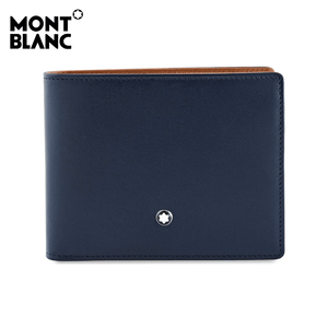Montblanc - Meister Unisex Leather Wallet 6cc - Navy / Tan (118293)