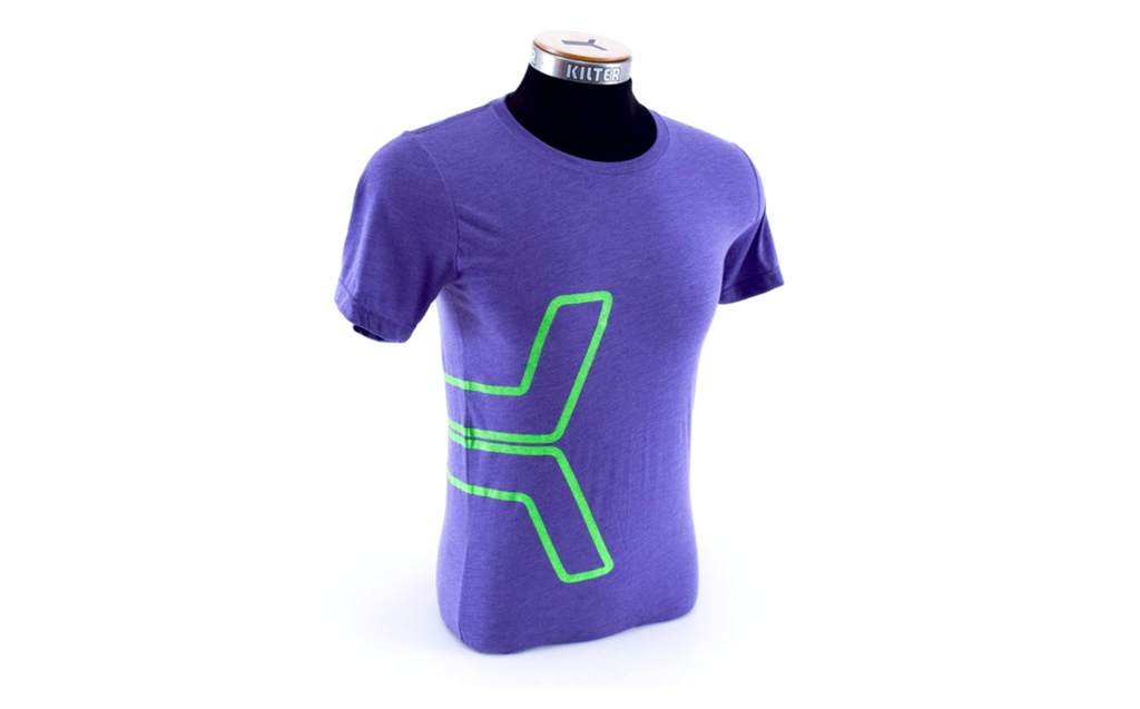K Tee - Thick Green Outline on Purple