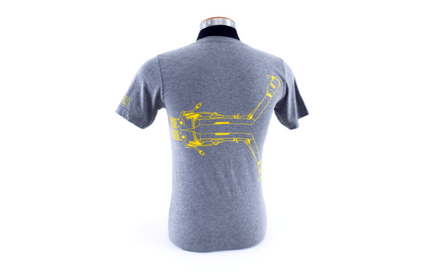 K Tank - charcoal with yellow outline on heather