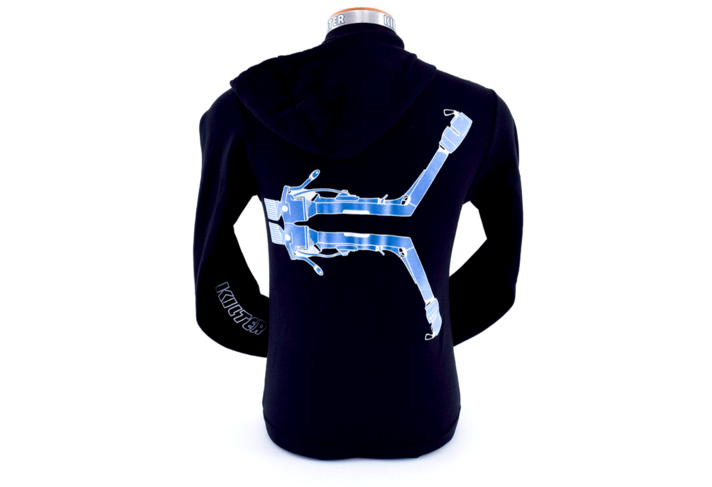 Turntable K Art Hoody Blue Back by Ian Powell