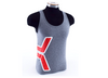 K Tank - Red/Thick White Outline on Heather Gray