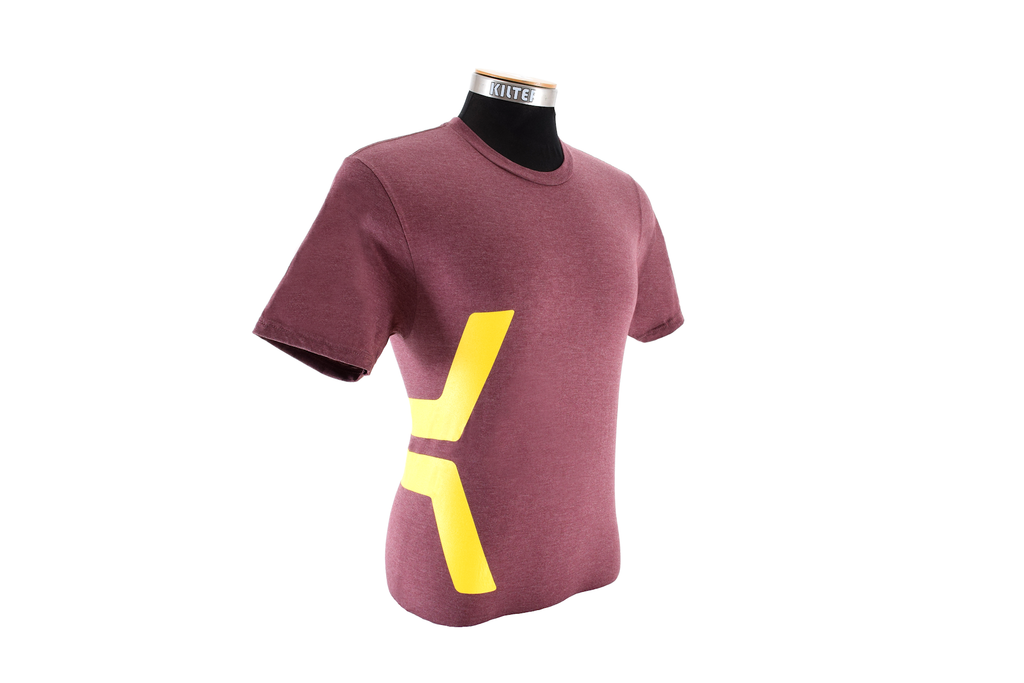 K Tee - Yellow on Heathered Maroon