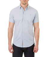 Report Collection Short Sleeve Fleck Plain Sport Shirt in Light Blue