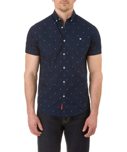 Report Collection Short Sleeve Lightening Bolt Print Sport Shirt in Navy
