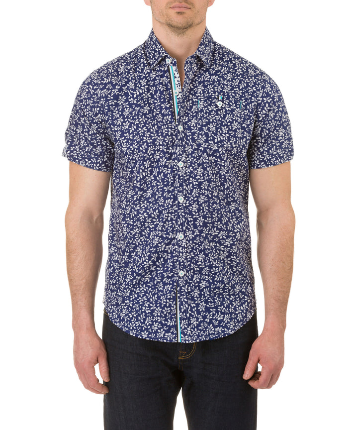 Report Collection Short Sleeve Leaf and Branch Print Sport Shirt in Royal
