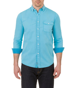 Heritage Long Sleeve Garment Dye Poplin in Aqua