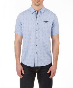 Heritage Short Sleeve Oxford Dot Print Sport Shirt in Light Blue