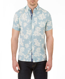 Heritage Short Sleeve Floral Preppy Print in Aqua