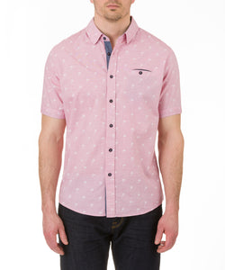 Heritage Short Sleeve Palm Spot Print Sport Shirt in Pink