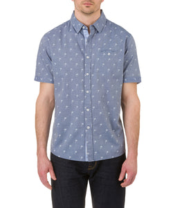 Heritage Short Sleeve Palm Spot Print Sport Shirt in Navy