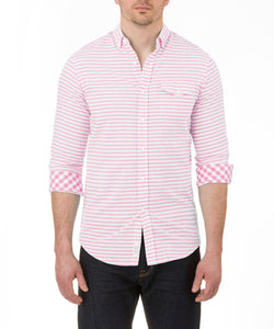 Heritage Long Sleeve Horizontal Stripe Preppy Sport Shirt in Pink