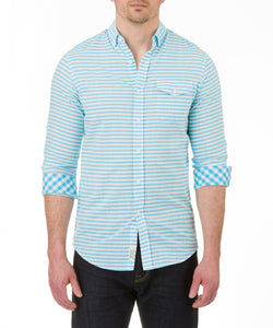 Heritage Long Sleeve Horizontal Stripe Preppy Sport Shirt in Aqua