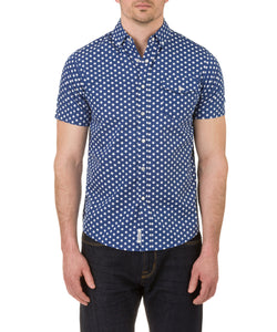 Heritage Short Sleeve Polka Dot Print in Blue