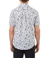 Heritage Short Sleeve Feather Print Sport Shirt in White