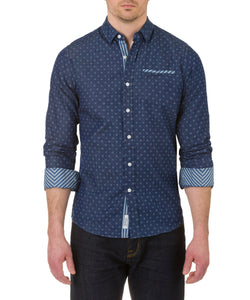 Heritage Long Sleeve Lt. Weight denim print sport shirt in Indigo