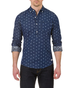 Heritage Long Sleeve Lt. Weight denim Dot print sport shirt in Indigo