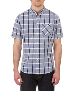 Heritage Short Sleeve Plaid Sport Shirt in Navy