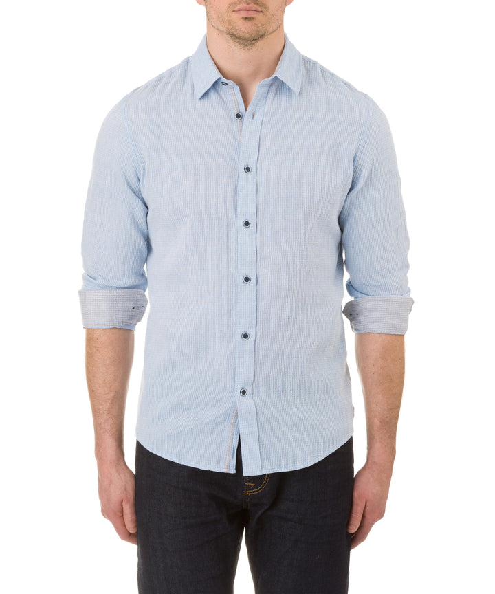 Report Collection Long Sleeve Textured Linen Cotton Sport Shirt in Blue
