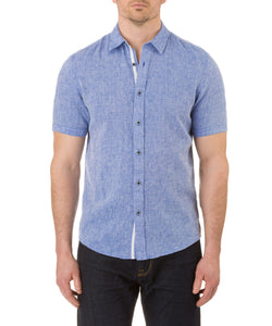 Report Collection Short Sleeve Textured Linen Cotton Sport Shirt in Royal