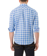 Report Collection Long Sleeve Linen Plaid Sport Shirt in Blue