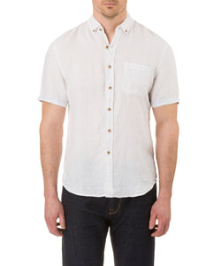 Report Collection Short Sleeve Button Down Enzyme Wash Linen Solid  Sport Shirt in White