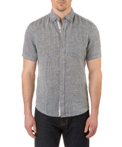 Report Collection Short Sleeve Button Down Enzyme Wash Linen Solid  Sport Shirt in Black