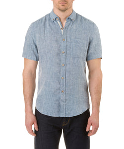 Report Collection Short Sleeve Button Down Enzyme Wash Linen Solid  Sport Shirt in Indigo