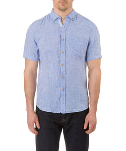 Report Collection Short Sleeve Button Down Enzyme Wash Linen Solid  Sport Shirt in Chambray