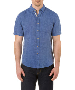 Report Collection Short Sleeve Button Down Enzyme Wash Linen Solid  Sport Shirt in Midnight Navy Mix