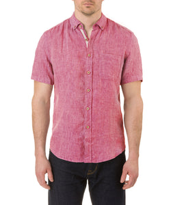 Report Collection Short Sleeve Button Down Enzyme Wash Linen Solid  Sport Shirt in Cherry