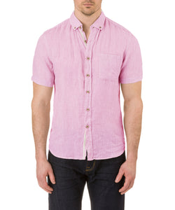 Report Collection Short Sleeve Button Down Enzyme Wash Linen Solid  Sport Shirt in Kennedy Pink