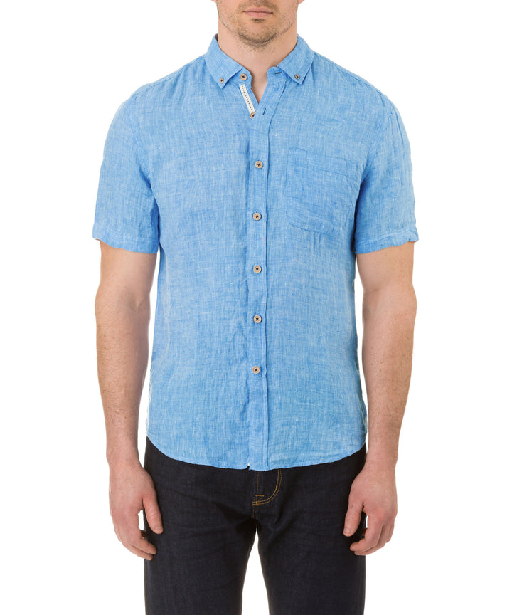 Report Collection Short Sleeve Button Down Enzyme Wash Linen Solid  Sport Shirt in Turquoise