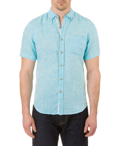 Report Collection Short Sleeve Button Down Enzyme Wash Linen Solid  Sport Shirt in Aqua