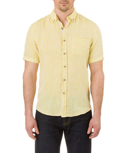 Report Collection Short Sleeve Button Down Enzyme Wash Linen Solid  Sport Shirt in Yellow
