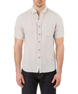 Report Collection Short Sleeve Button Down Enzyme Wash Linen Solid  Sport Shirt in Sand