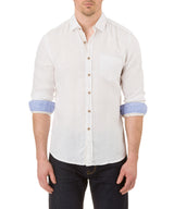 Report Collection Long Sleeve  Enzyme Wash Linen Solid  Sport Shirt in White
