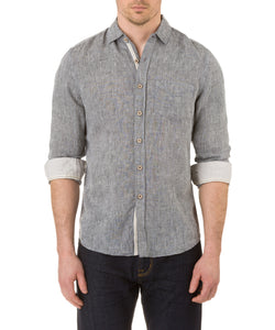 Report Collection Long Sleeve  Enzyme Wash Linen Solid  Sport Shirt in Black