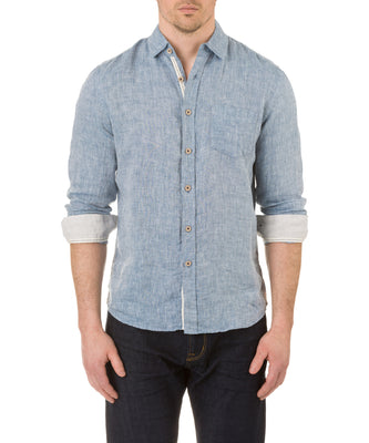 Report Collection Long Sleeve  Enzyme Wash Linen Solid  Sport Shirt in Indigo