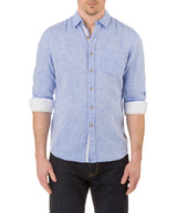 Report Collection Long Sleeve  Enzyme Wash Linen Solid  Sport Shirt in Chambray