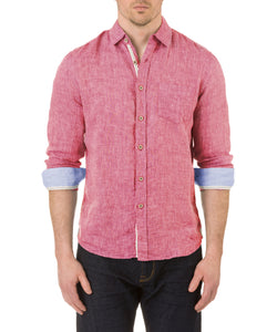 Report Collection Long Sleeve  Enzyme Wash Linen Solid  Sport Shirt in Cherry