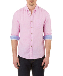 Report Collection Long Sleeve  Enzyme Wash Linen Solid  Sport Shirt in Kennedy Pink