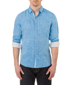 Report Collection Long Sleeve  Enzyme Wash Linen Solid  Sport Shirt in Turquoise