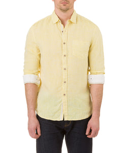 Report Collection Long Sleeve  Enzyme Wash Linen Solid  Sport Shirt in Yellow