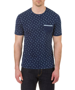 Heritage Short Sleeve Crew Pocket T with heart print in Indigo