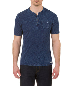 Heritage Short Sleeve Knit Denim Henley in Indigo