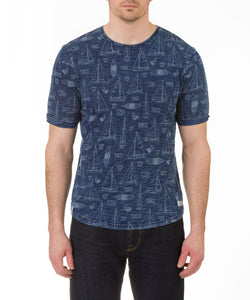 Heritage Short Sleeve Knit Denim Print crew neck T in Blue