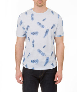 Heritage Short Sleeve Nep Feather Print Crew Neck T in Light Blue